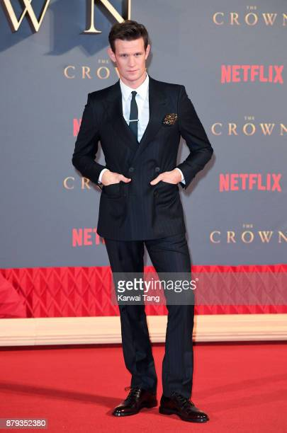Matt Smith attends the World Premiere of Netflix's The Crown Season 2 at Odeon Leicester Square on November 21 2017 in London England