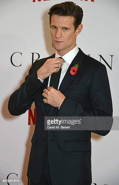 Matt Smith attends the World Premiere of new Netflix Original series 'The Crown' at Odeon Leicester Square on November 1 2016 in London England