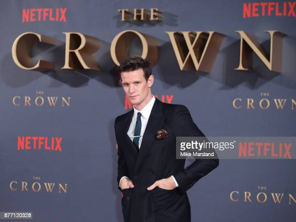 Matt Smith attends the World Premiere of season 2 of Netflix The Crown at Odeon Leicester Square on November 21 2017 in London England