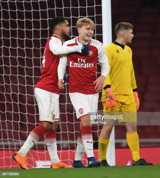 Matt Smith celebrates scoring Arsenal's 5th goal with Trae Coyle during the match between Arsenal and Blackpool at Emirates Stadium on April 16 2018...