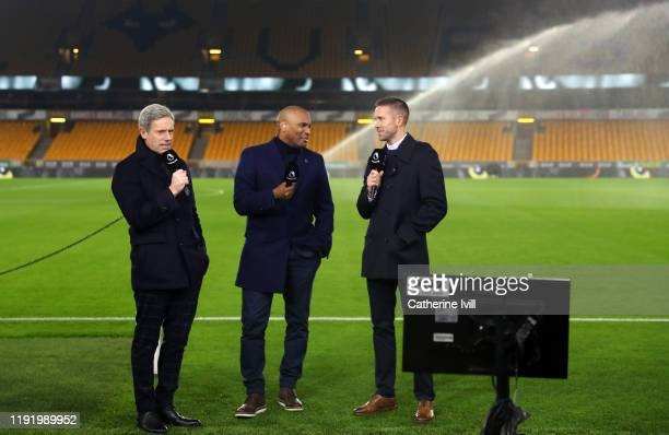 Matt Smith, Clinton Morrison and Matthew Upson report pitchside for Amazon Prime television ahead of the Premier League match between Wolverhampton...