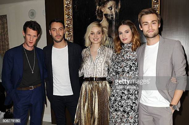 Matt Smith Jack Huston Bella Heathcote Lily James and Douglas Booth attend the cast photo call for 'Pride and Prejudice and Zombies' at The London...