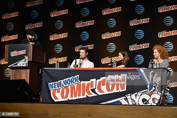 Matt Smith Jenna Coleman and Alex Kingston speak at the Tales from the TARDIS panel at Jacob Javits Center on October 6 2016 in New York City