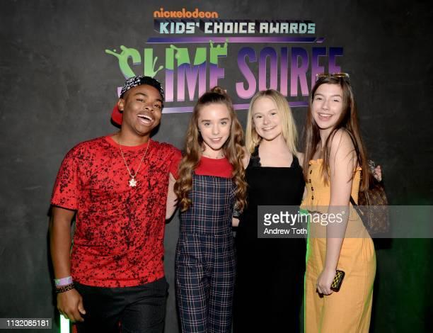 Matt Smith Jenna Davis Mia Dinoto and Sissy Sheridan attends the 2019 Nickelodeon Kids' Choice Awards Slime Soiree on March 22 2019 in Venice...