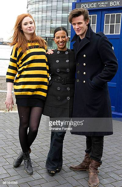 Matt Smith Karen Gillan and newsreader Ranvir Singh attend photocall to launch the new season of 'Dr Who' at The Lowry on March 31 2010 in Manchester...