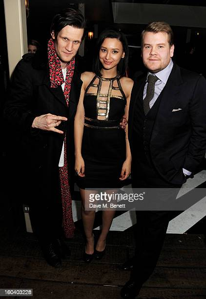 Matt Smith Leah Weller and James Corden attend the InStyle Best Of British Talent party in association with Lancome and Avenue 32 at Shoreditch House...