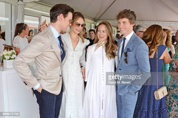 Matt Smith Lily James Hannah Redmayne and Eddie Redmayne attend the Audi Polo Challenge at Coworth Park Polo Club on July 1 2018 in Ascot England