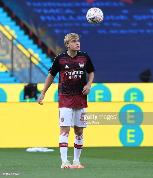 Matt Smith of Arsenal before the FA Cup Semi Final match between Arsenal and Manchester City at Wembley Stadium on July 18 2020 in London England