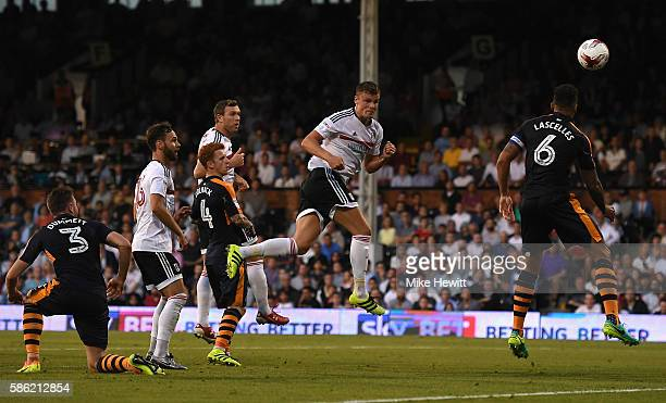 Matt Smith of Fulham scores the opening goal of the game during the Sky Bet Championship match between Fulham and Newcastle United at Craven Cottage...