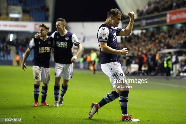 Matt Smith of Millwall celebrates scoring during the Sky Bet Championship match between Millwall and Wigan Athletic at The Den on November 26 2019 in...