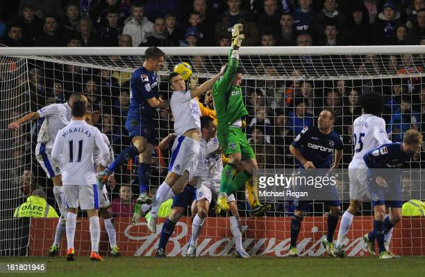 Matt Smith of Oldham Athletic scores his team's second goal to make the score 22 during the FA Cup with Budweiser Fifth Round match between Oldham...