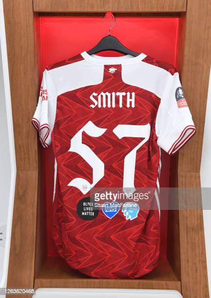 Matt Smith shirt in the Arsenal changing room before the FA Cup Final match between Arsenal and Chelsea at Wembley Stadium on August 01 2020 in...