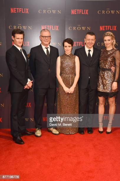 Matt Smith Stephen Daldry Claire Foy Peter Morgan and Vanessa Kirby attend the World Premiere of season 2 of Netflix 'The Crown' at Odeon Leicester...
