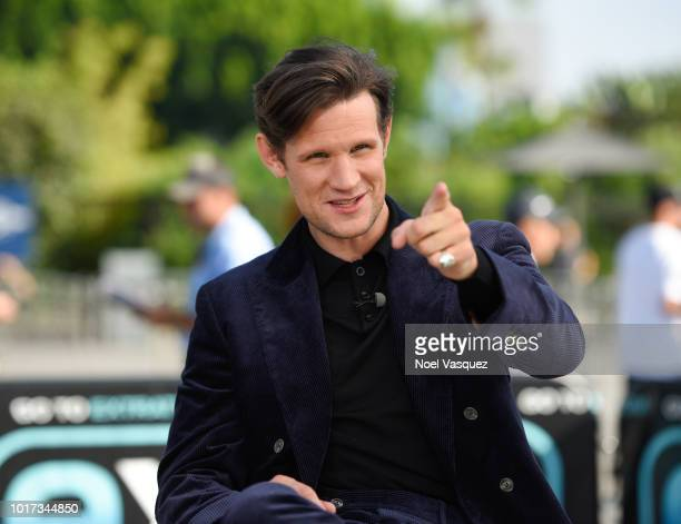 """Matt Smith visits """"Extra"""" at Universal Studios Hollywood on August 15, 2018 in Universal City, California."""