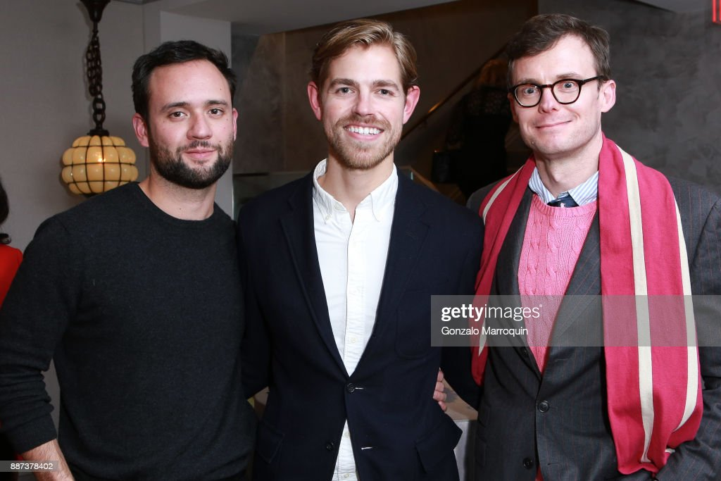 Matt Smoak, Kyle Marshall and Kirk Swinehart during the Macklowe Gallery Hosts 2018 Winter Antiques Show Kickoff Event at 445 Park Avenue on December 6, 2017 in New York City.