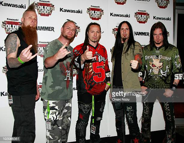 Matt Snell Ivan Moody Zoltan Bathory Jeremy Spencer and Jason Hook of Five Finger Death Punch arrive at the Metal Hammer Golden Gods Awards 2010 at...