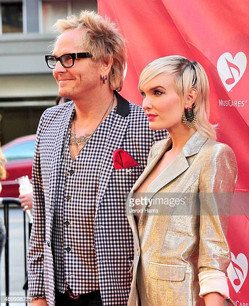 Matt Sorum and Ace Harper arrive at the 2014 MusiCares MAP Fund Benefit Concert at Club Nokia on May 12 2014 in Los Angeles California