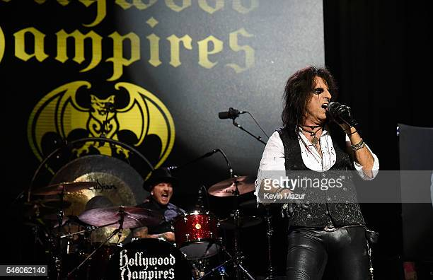 Matt Sorum and Alice Cooper of Hollywood Vampires perform at Ford Ampitheater at Coney Island Boardwalk on July 10 2016 in Brooklyn New York