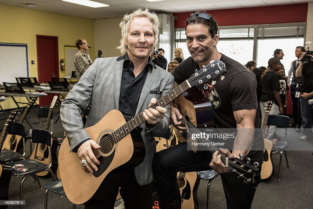 Matt Sorum and Johnathon Schaech attend the Adopt the Arts Ribbon-Cutting Ceremony at Westminster Elementary School on February 5, 2015 in Venice, California.