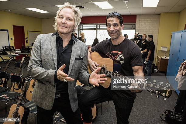 Matt Sorum and Johnathon Schaech attend the Adopt the Arts RibbonCutting Ceremony at Westminster Elementary School on February 5 2015 in Venice...