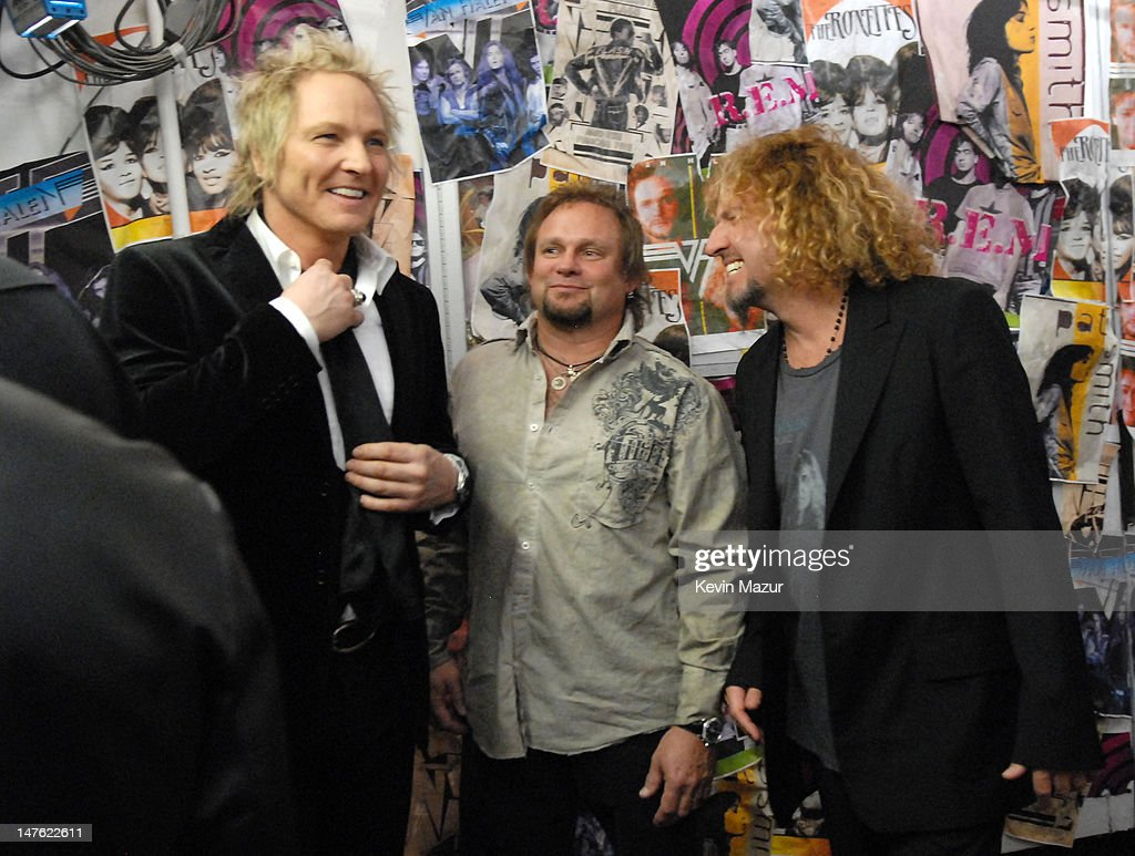 Matt Sorum of Velvet Revolver, presenter, with Michael Anthony and Sammy Hagar of Van Halen, inductees *EXCLUSIVE*
