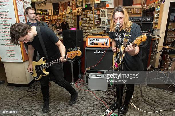 Matt Spalding and Ryan Needham of Menace Beach perform at Jumbo Records Town on January 19 2015 in Leeds United Kingdom