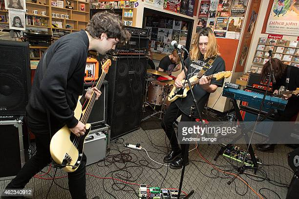 Matt Spalding Ryan Needham Nestor Matthews and Liza Violet of Menace Beach perform at Jumbo Records Town on January 19 2015 in Leeds United Kingdom