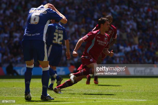 Matt Sparrow scores a goal for Scunthorpe during the Coca-Cola League One Playoff Final between Millwall and Scunthorpe United at Wembley Stadium on...