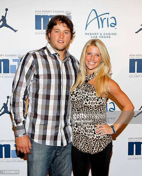 Matt Stafford and Kelly Hall arrive at the 11th Annual Michael Jordan Celebrity Invitational welcome reception at the Liquid Pool Lounge at the Aria...