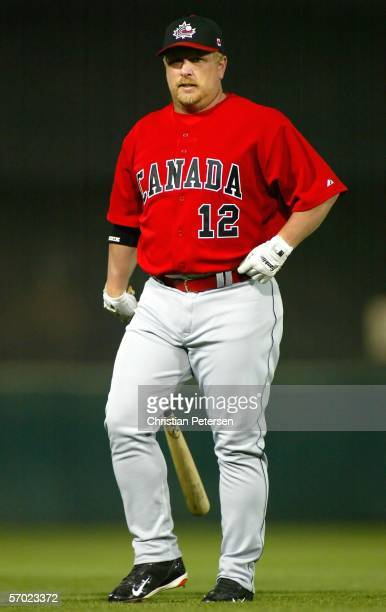 Matt Stairs of Team Canada warms up on the field before the Round 1 Pool B Game of the World Baseball Classic against Team South Africa on March 7,...
