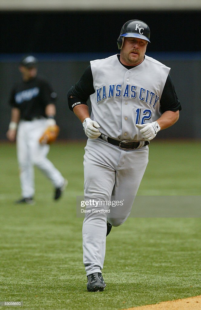 Matt Stairs #12 of the Kansas City Royals rounds the bases after hitting a home run against the Toronto Blue Jays during the game at Rogers Centre on May 11, 2005 in Toronto, Ontario. The Blue Jays defeated the Royals 12-9.