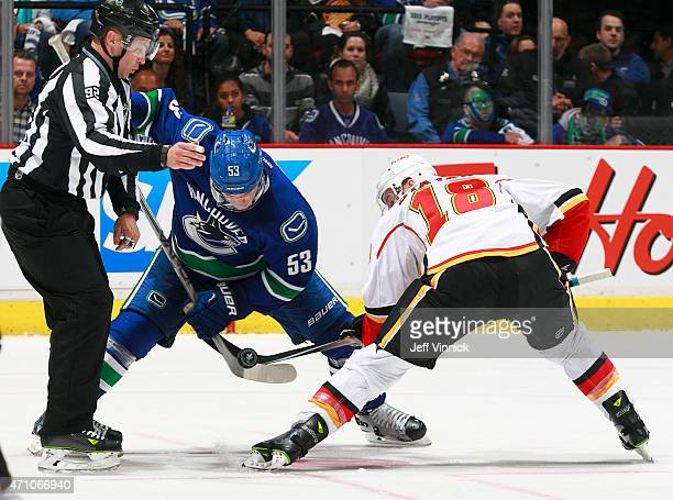 Matt Stajan of the Calgary Flames Bo Horvat of the Vancouver Canucks face-off during Game Five of the Western Conference Quarterfinals during the...