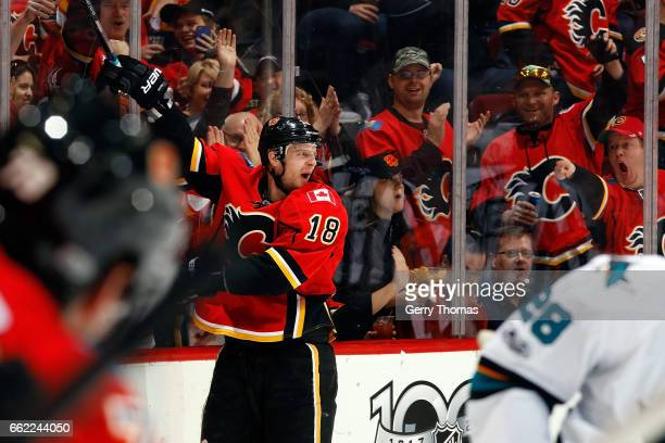 Matt Stajan of the Calgary Flames celebrates a goal against the San Jose Sharks during an NHL game on March 31 2017 at the Scotiabank Saddledome in...