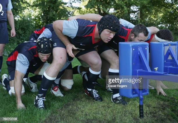 Matt Stevens the England prop packs down during the England rugby union training session held at Bath University on August 8 2007 in Bath England