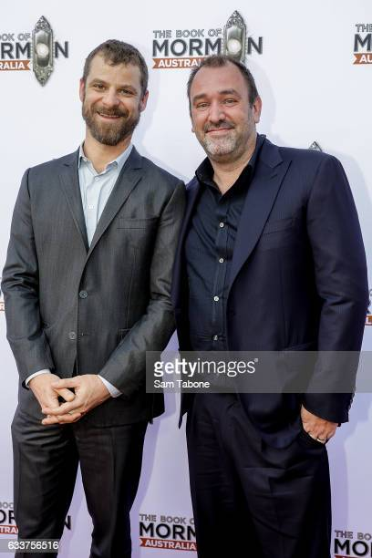 Matt Stone and Trey Parker arrives ahead of The Book of Mormon opening night at Princess Theatre on February 4, 2017 in Melbourne, Australia.