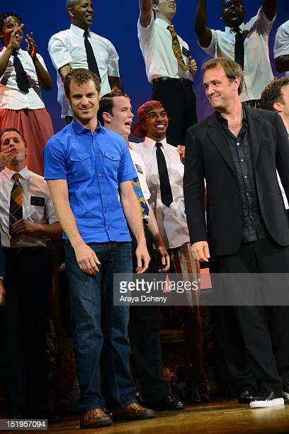 Matt Stone and Trey Parker attend 'The Book Of Mormon' Los Angeles Opening Night at the Pantages Theatre on September 12 2012 in Hollywood California