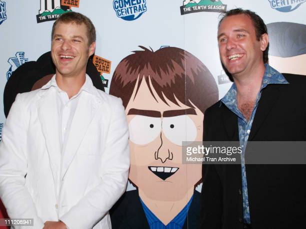 Matt Stone and Trey Parker during Comedy Central Celebrate 10 Seasons of 'South Park' Arrivals and Inside at The Lot in Los Angeles California United...