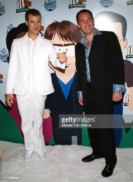 """Matt Stone and Trey Parker during Comedy Central Celebrate 10 Seasons of """"South Park"""" - Arrivals and Inside at The Lot in Los Angeles, California,..."""