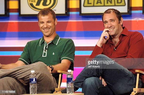 Matt Stone and Trey Parker of 'South Park' during Comedy Central TVLand Nick and Nickelodeon Summer 2006 TCA Press Tour Panel at RitzCarlton Hotel in...