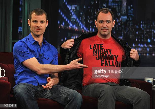 Matt Stone and Trey Parker visit 'Late Night with Jimmy Fallon' at Rockefeller Center on March 23 2011 in New York City
