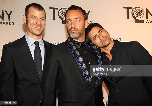 Matt Stone Trey Parker and John Stamos attend the 66th Annual Tony Awards at The Beacon Theatre on June 10 2012 in New York City
