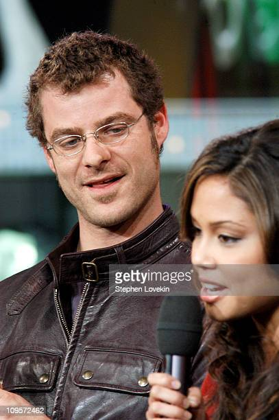 Matt Stone with MTV VJ La La Vasquez during Trey Parker Matt Stone and Christina Milian Visit MTV's 'TRL' October 13 2004 at MTV Studios Times Square...
