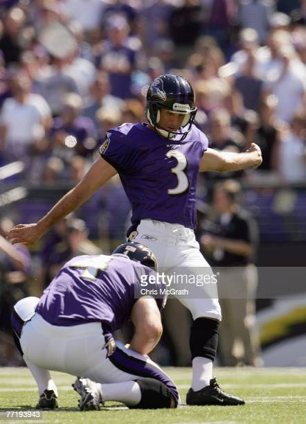 Matt Stover of the Baltimore Ravens kicks a field goal during the game against the Arizona Cardinals on September 23, 2007 at M&T Bank Stadium in...