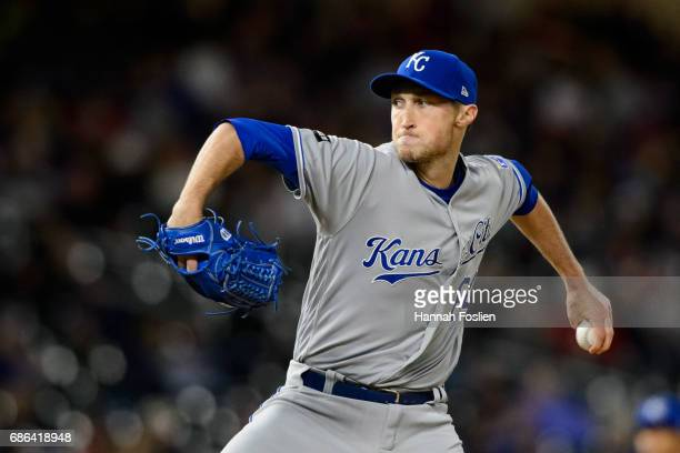 Matt Strahm of the Kansas City Royals delivers a pitch against the Minnesota Twins during the game on May 19 2017 at Target Field in Minneapolis...