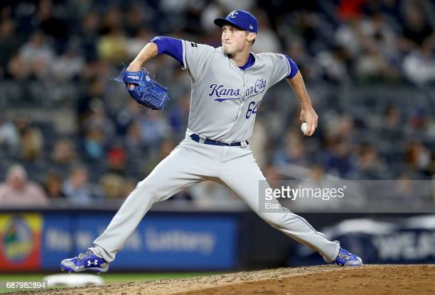 Matt Strahm of the Kansas City Royals delivers a pitch in the seventh inning against the New York Yankees on May 24 2017 at Yankee Stadium in the...