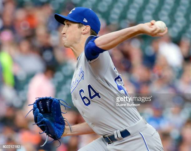 Matt Strahm of the Kansas City Royals pitches against the Detroit Tigers during the first inning at Comerica Park on June 27 2017 in Detroit Michigan