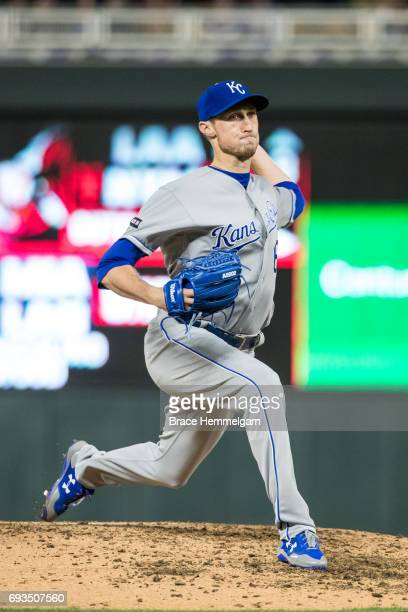 Matt Strahm of the Kansas City Royals pitches against the Minnesota Twins on May 19 2017 at Target Field in Minneapolis Minnesota The Twins defeated...