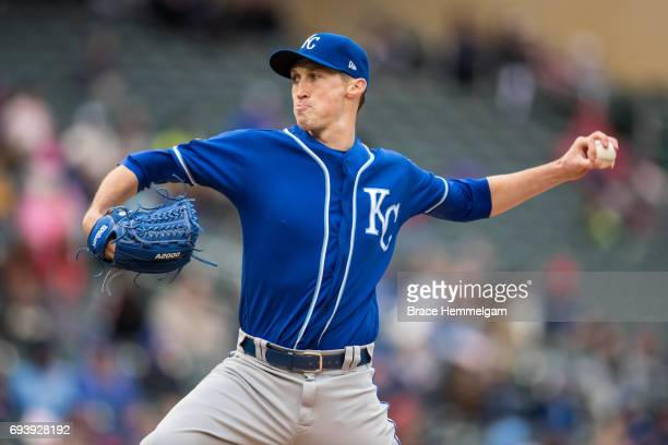 Matt Strahm of the Kansas City Royals pitches against the Minnesota Twins on May 21 2017 at Target Field in Minneapolis Minnesota The Twins defeated...