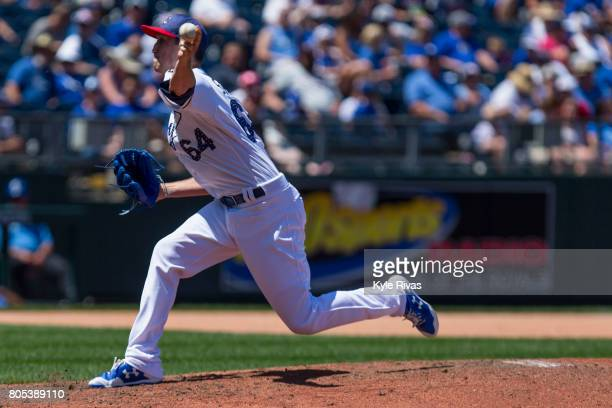 Matt Strahm of the Kansas City Royals pitches against the Minnesota Twins in the 4th inning during game one of a doubleheader at Kauffman Stadium on...