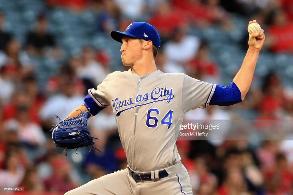 Matt Strahm #64 of the Kansas City Royals pitches during a game against the Los Angeles Angels of Anaheim at Angel Stadium of Anaheim on June 15, 2017 in Anaheim, California.